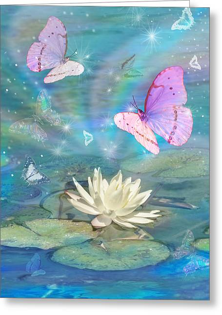 Fantasy Animal Greeting Cards - Lotus Butterfly Greeting Card by Alixandra Mullins