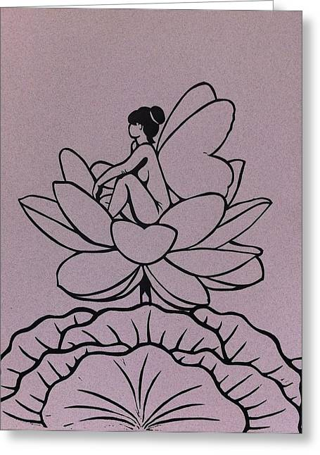 Fantasy Reliefs Greeting Cards - Lotus Fairy Greeting Card by Mary Clare Castor