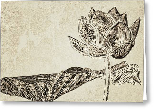 Sacred Drawings Greeting Cards - Lotus Flower and Leaf Greeting Card by Patricia Januszkiewicz