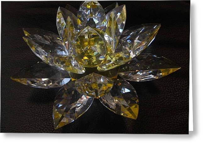Hand Made Glass Greeting Cards - Lotus Flower Crystal Greeting Card by Shan Peck