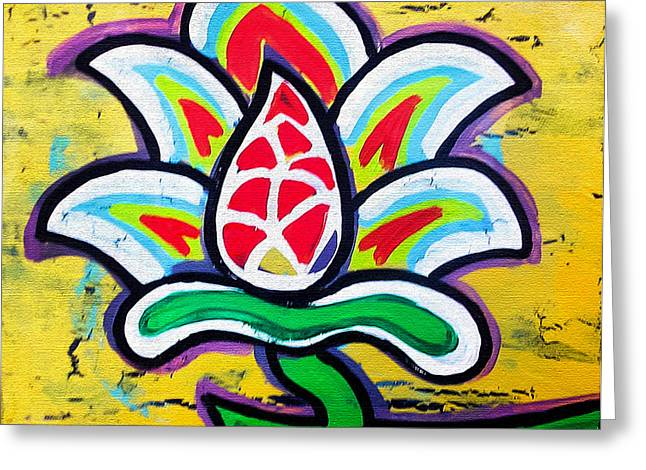 Print On Canvas Greeting Cards - Lotus Flower Greeting Card by Genevieve Esson