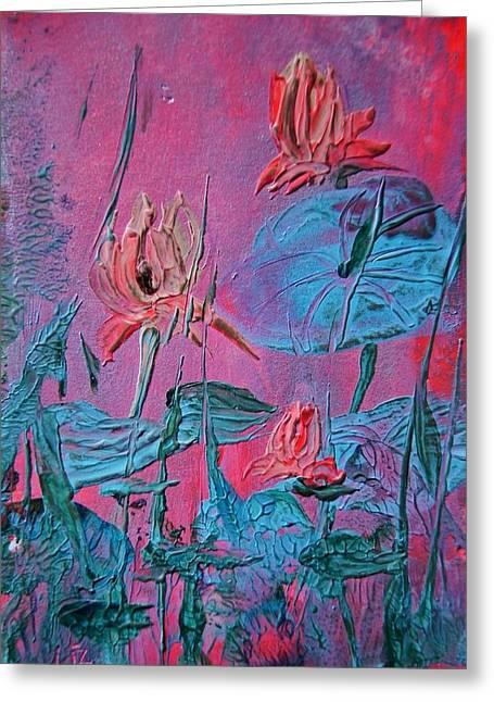 Petrol Green Greeting Cards - Lotus Flower Greeting Card by Liz Naepflin
