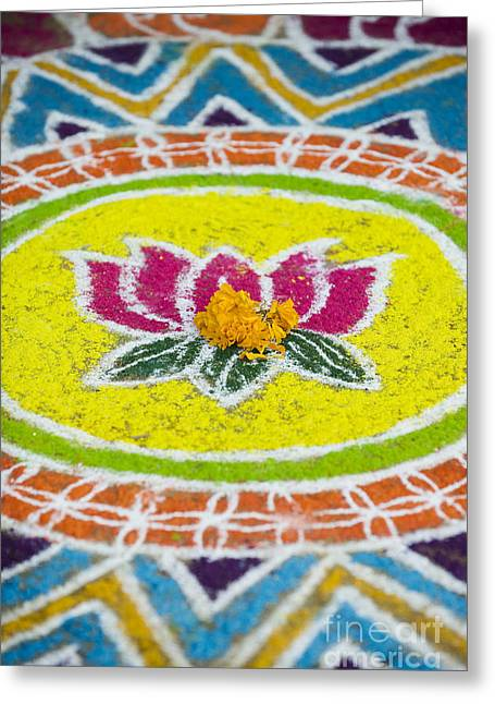 Indian Art Greeting Cards - Lotus flower Rangoli Greeting Card by Tim Gainey