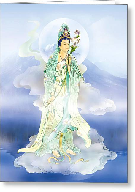 Quan Yin Art Greeting Cards - Lotus-holding Kuan Yin Greeting Card by Lanjee Chee