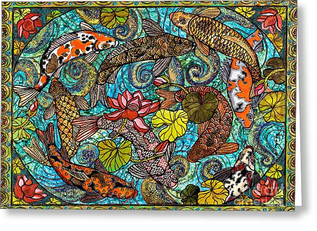 Cole Paintings Greeting Cards - Lotus Koi Pond Greeting Card by Melissa Cole