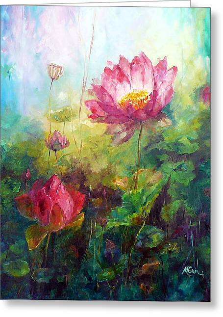 Lotus Light Greeting Card by Marie Green