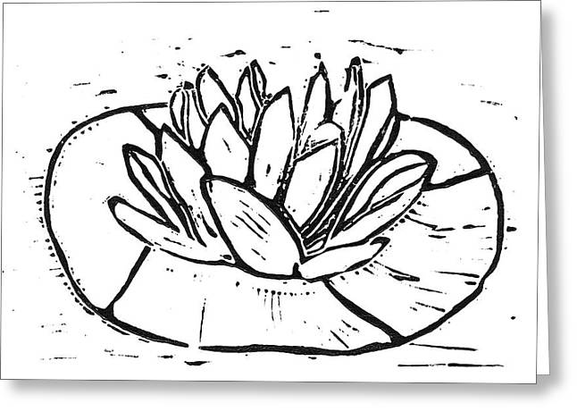 Linoleum Block Print Reliefs Greeting Cards - Lotus Greeting Card by Lynn-Marie Gildersleeve