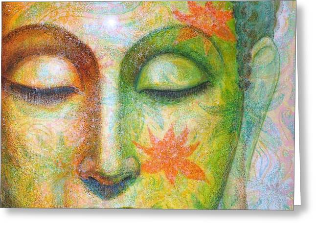Sue Greeting Cards - Lotus Meditation Buddha Greeting Card by Sue Halstenberg
