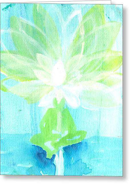 Dream Scape Paintings Greeting Cards - Lotus Petals Awakening Spirit Greeting Card by Ashleigh Dyan Bayer