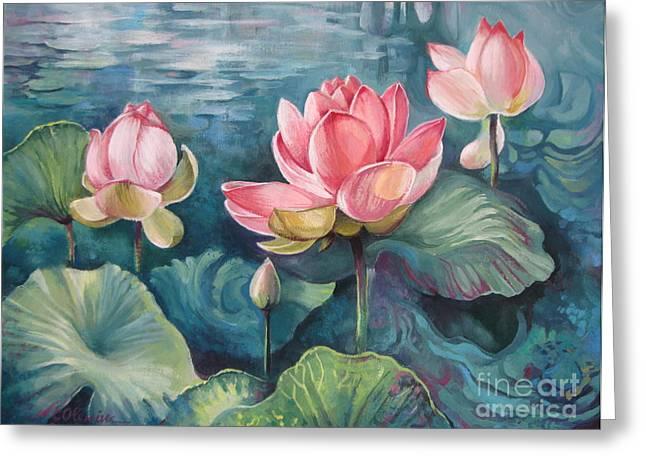Aquatic Greeting Cards - Lotus pond Greeting Card by Elena Oleniuc