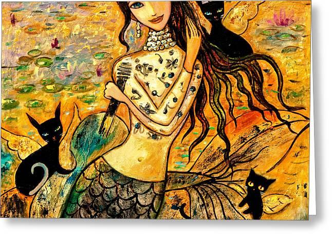 Lotus Pool Greeting Card by Shijun Munns
