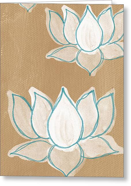 Blooms Mixed Media Greeting Cards - Lotus Serenity Greeting Card by Linda Woods