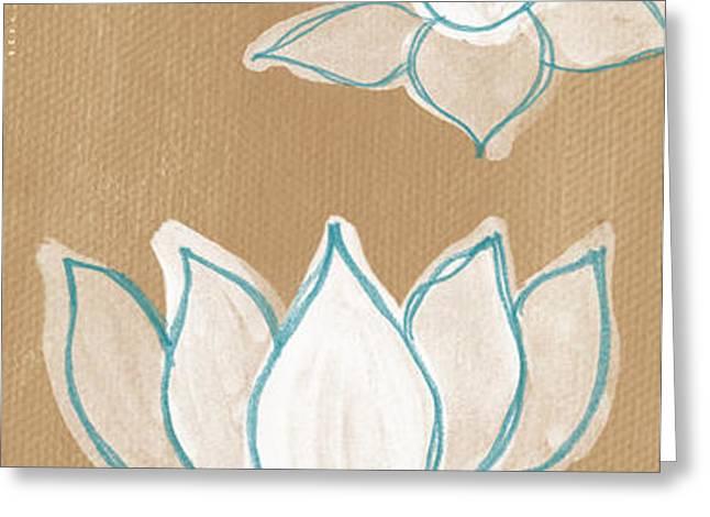 Lotus Serenity Greeting Card by Linda Woods