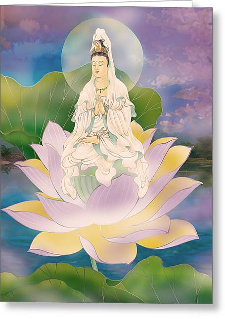 Kuan Greeting Cards - Lotus-sitting Avalokitesvara  Greeting Card by Lanjee Chee