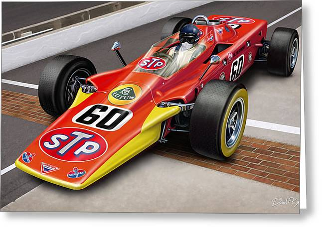 Indy Car Greeting Cards - Lotus STP Indy Turbine Greeting Card by David Kyte