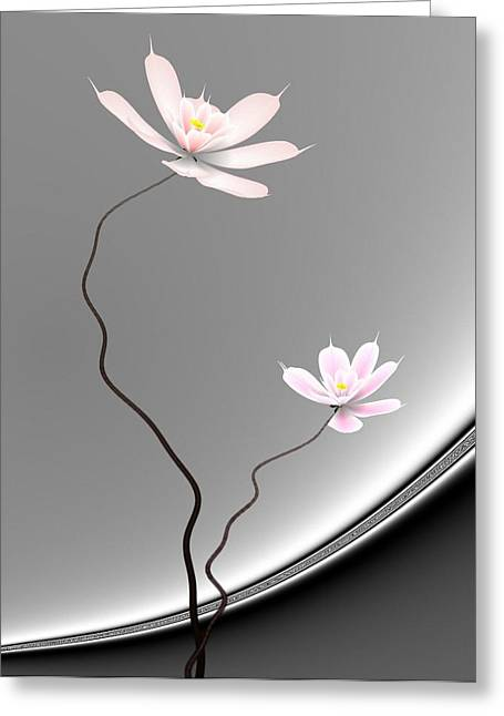 Lotus Twins Greeting Card by GuoJun Pan