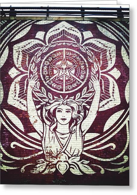 Nyc Graffiti Greeting Cards - Lotus Woman of Brooklyn Greeting Card by Natasha Marco