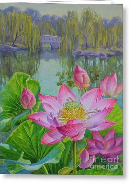 Pink Lotus Greeting Cards - Lotuses in a Chinese Garden 1 Greeting Card by Fiona Craig