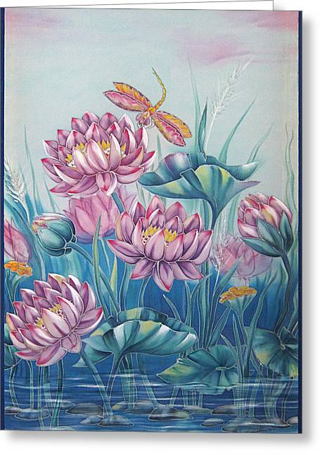 Dragonflies Tapestries - Textiles Greeting Cards - Lotuses in silver dew Greeting Card by Alena Priest