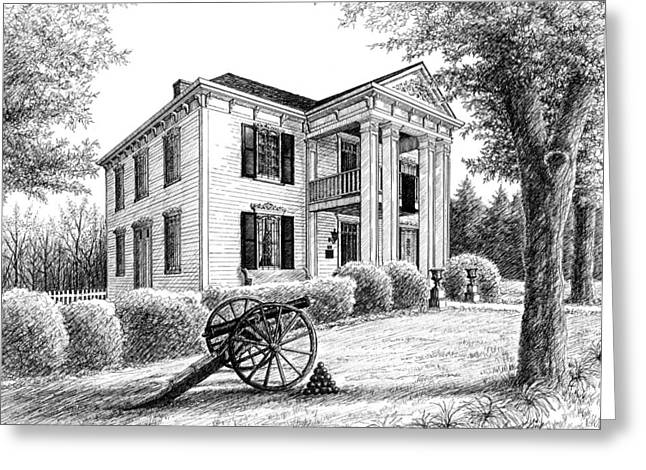 Pen And Ink Drawing Of Franklin Tennessee Greeting Cards - Lotz House Greeting Card by Janet King