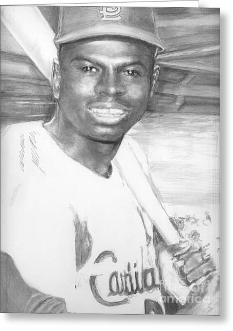 Auction Drawings Greeting Cards - Lou Brock Greeting Card by Carliss Mora