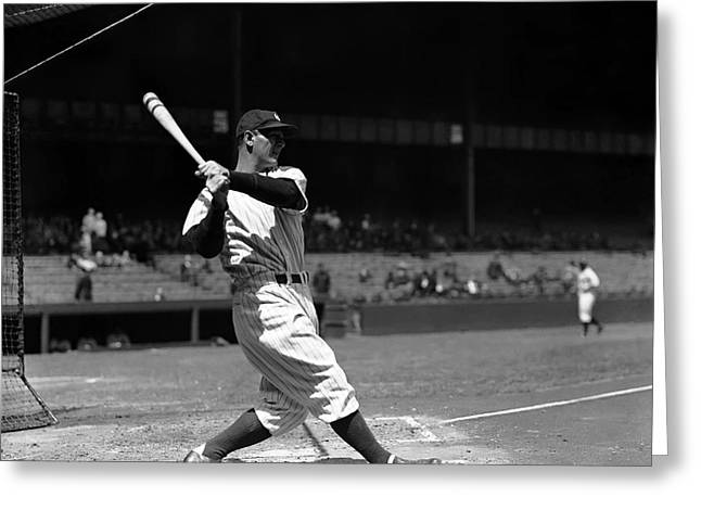 Historical Pictures Greeting Cards - Lou Gehrig Driving The Ball Deep Greeting Card by Retro Images Archive