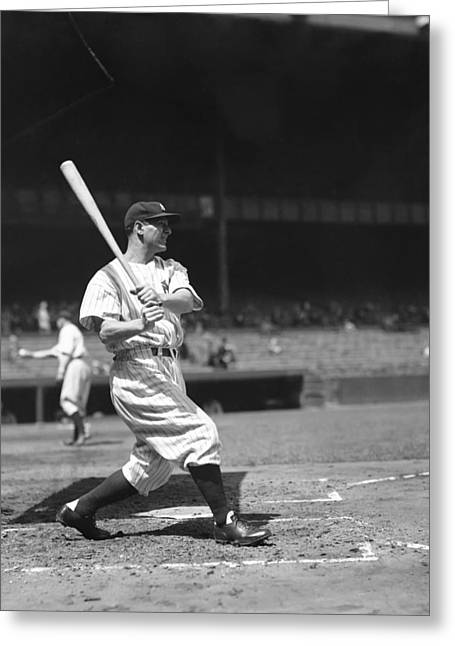Retro Antique Greeting Cards - Lou Gehrig Great Swing Greeting Card by Retro Images Archive