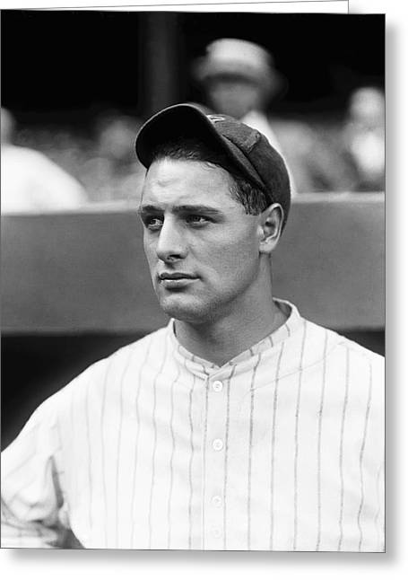 Famous Photographers Greeting Cards - Lou Gehrig Looking Away Greeting Card by Retro Images Archive