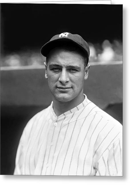 Retro Antique Greeting Cards - Lou Gehrig Looking Forward Greeting Card by Retro Images Archive