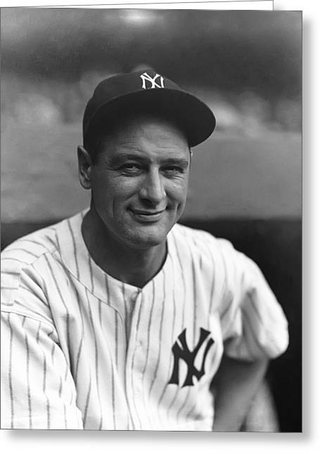 League Greeting Cards - Lou Gehrig New York  Greeting Card by Retro Images Archive