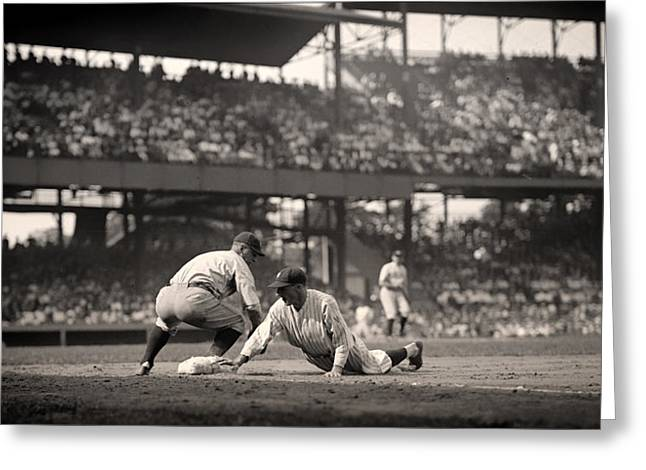 Beloved Greeting Cards - Lou Gehrig Playing First Base Greeting Card by Mountain Dreams
