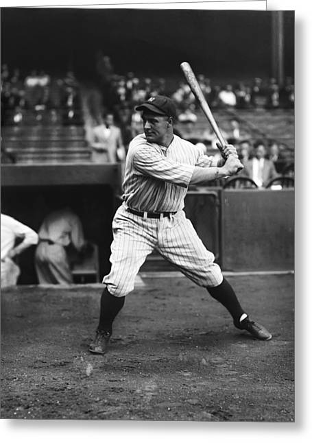 Retro Antique Greeting Cards - Lou Gehrig Practice Swing Greeting Card by Retro Images Archive