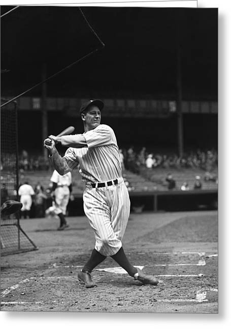 Hall Of Fame Greeting Cards - Lou Gehrig Pre Game Follow Through Greeting Card by Retro Images Archive