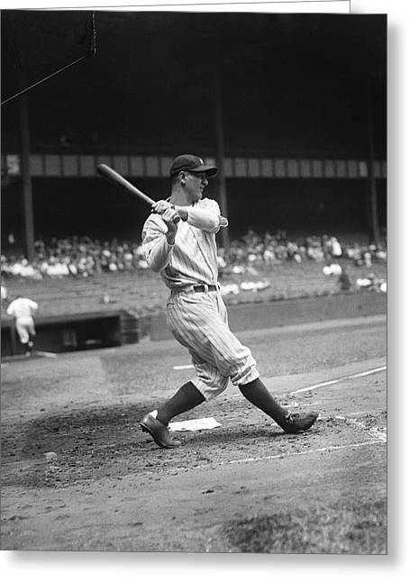 Hall Of Fame Greeting Cards - Lou Gehrig Pre Game Swing Greeting Card by Retro Images Archive