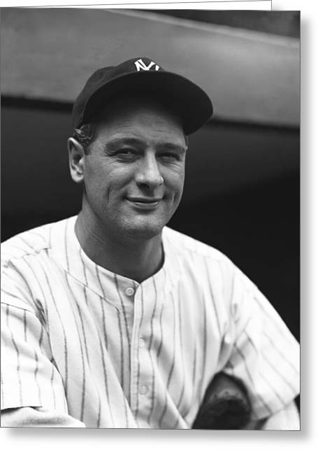 Famous Photographer Greeting Cards - Lou Gehrig Smiling Greeting Card by Retro Images Archive