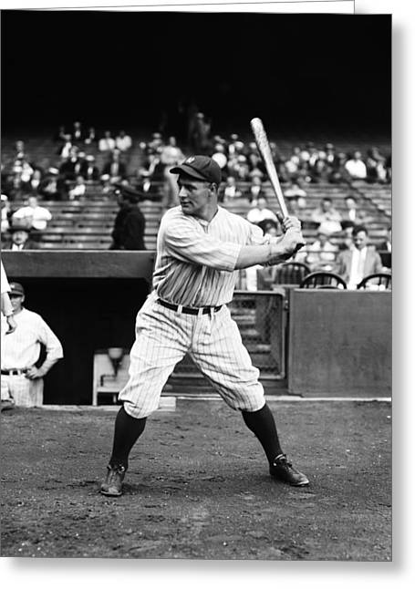 Famous Photographer Greeting Cards - Lou Gehrig Stance Greeting Card by Retro Images Archive