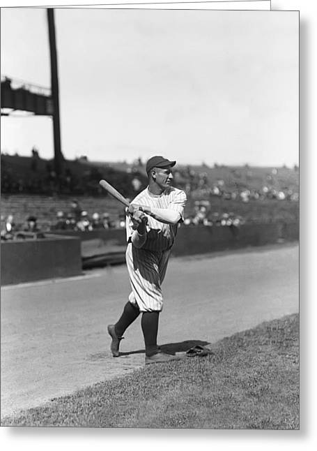 Famous Photographers Greeting Cards - Lou Gehrig Swinging Greeting Card by Retro Images Archive