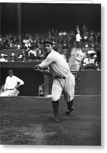 Famous Photographer Greeting Cards - Lou Gehrig Warming Up Hitting Greeting Card by Retro Images Archive