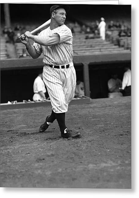 Gehrig Greeting Cards - Lou Gehrig Warming Up Greeting Card by Retro Images Archive