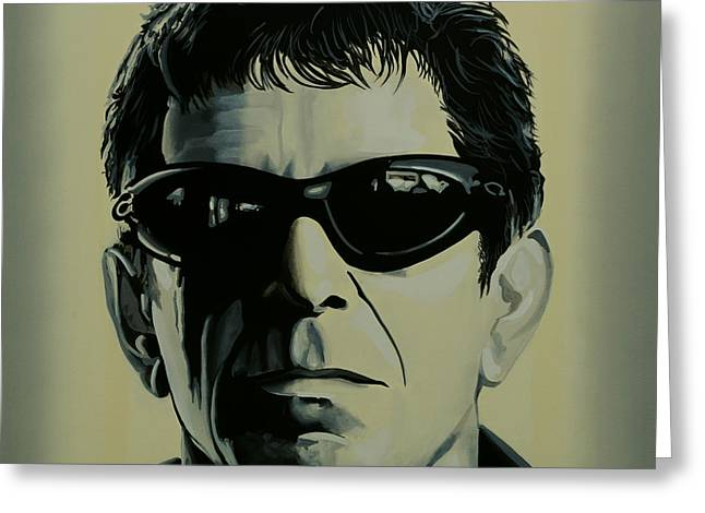 Rock And Roll Paintings Greeting Cards - Lou Reed Greeting Card by Paul  Meijering