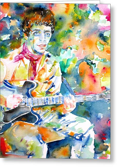 The Les Paul Guitar Greeting Cards - LOU REED playing the GUITAR - watercolor portrait Greeting Card by Fabrizio Cassetta
