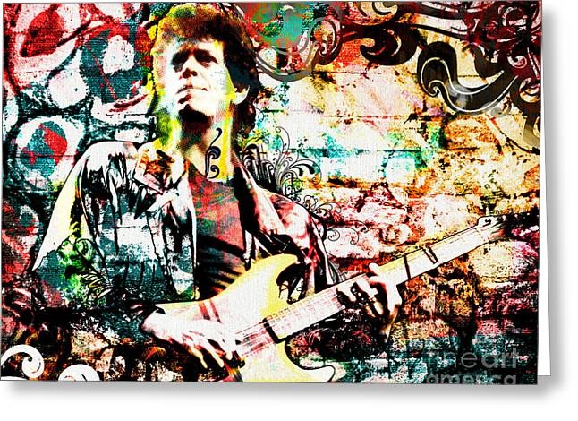 Caves Mixed Media Greeting Cards - Lou Reed - Velvet Underground Original Painting Print Greeting Card by Ryan RockChromatic