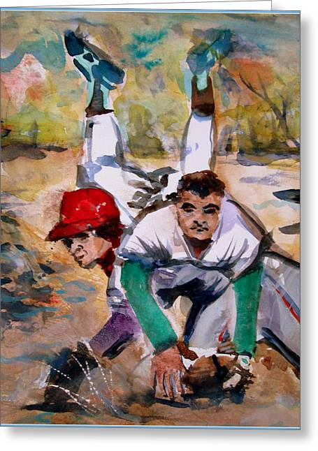 Lou Whitaker And Cal Ripken In Double Play Greeting Card by Mindy Newman