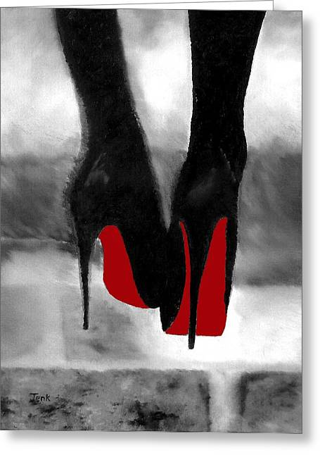 Designers Greeting Cards - Louboutin At Midnight Black and White Greeting Card by Rebecca Jenkins