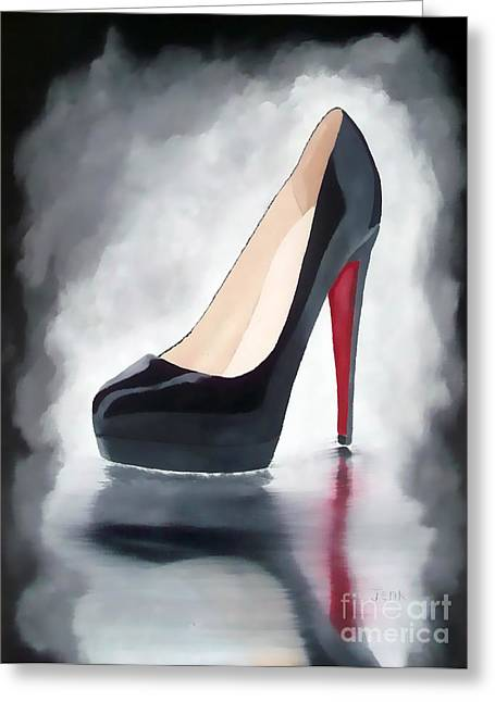Sole Greeting Cards - Louboutin Reflection Greeting Card by Rebecca Jenkins