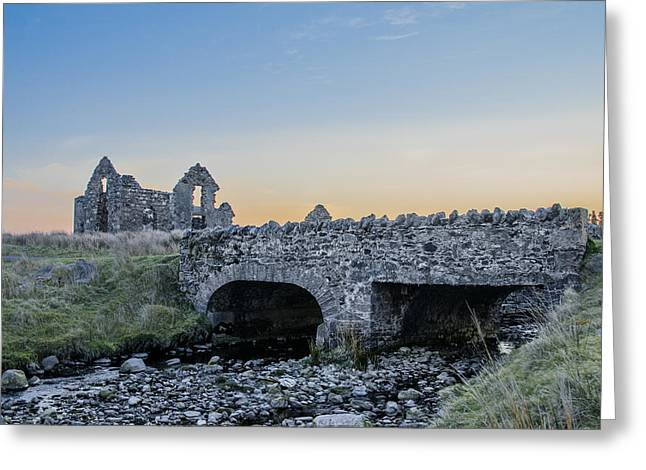 Sligo Greeting Cards - Lough Easkie Hunting Lodge Ruin with Bridge Greeting Card by Bill Cannon