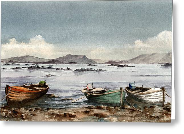 Val Byrne Greeting Cards - Lough Mask  Mayo Greeting Card by Val Byrne