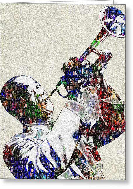Player Greeting Cards - Louie Armstrong 2 Greeting Card by Jack Zulli