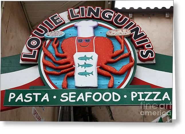 Italian Shopping Photographs Greeting Cards - Louie Linguinis On Monterey Cannery Row California 5D24772 Greeting Card by Wingsdomain Art and Photography