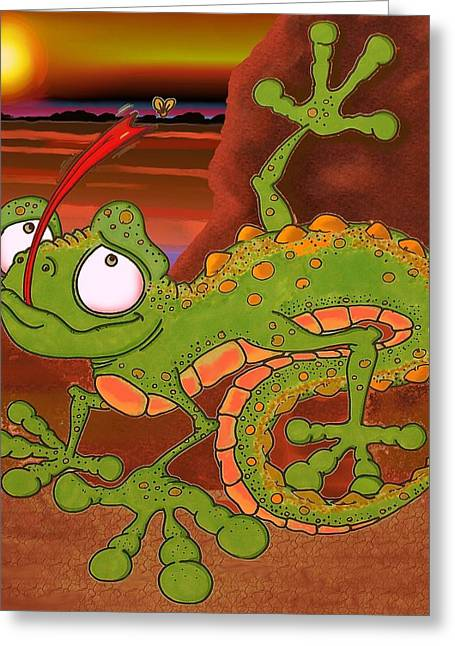 Temperature Mixed Media Greeting Cards - Louie the Lizard Greeting Card by Paul Calabrese